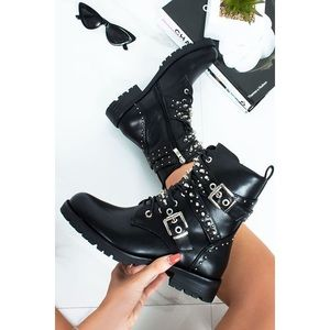 Zara Studded Leather Combat Boots